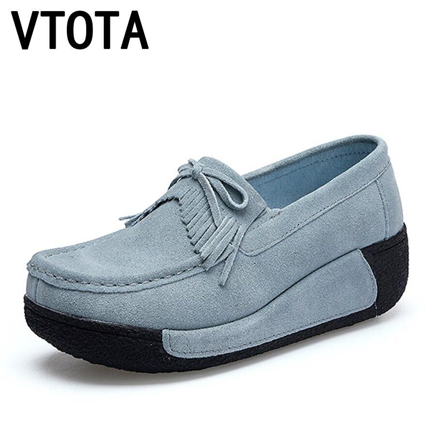 Mocassins Cuir Femmes Zapatos forme gris Chaussures Suédé En bleu Casual Vtota Noir Mujer Plate Slipony rouge F73 rose Appartements Automne Fringe wCXxnqfS0