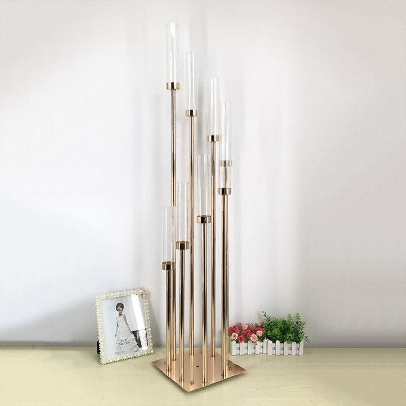 8 головок Металл канделябр держатели акриловые свадебный стол центральным цветок стенд подсвечник канделябр домашний декор