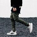 Pantalones de Hip Hop de Los Hombres de Moda Justin Bieber Pantalones Harén Tobillo Cremalleras kanye West Mens Joggers Gota Entrepierna Pantalones de Temor de Dios Yeezys