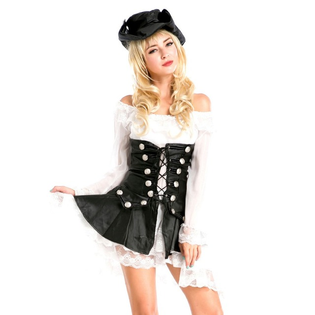 Classic Pirate Costumes Black PU Leather White Lace Pirate Dress Role Play Party Halloween Costumes for  sc 1 st  AliExpress.com & Classic Pirate Costumes Black PU Leather White Lace Pirate Dress ...