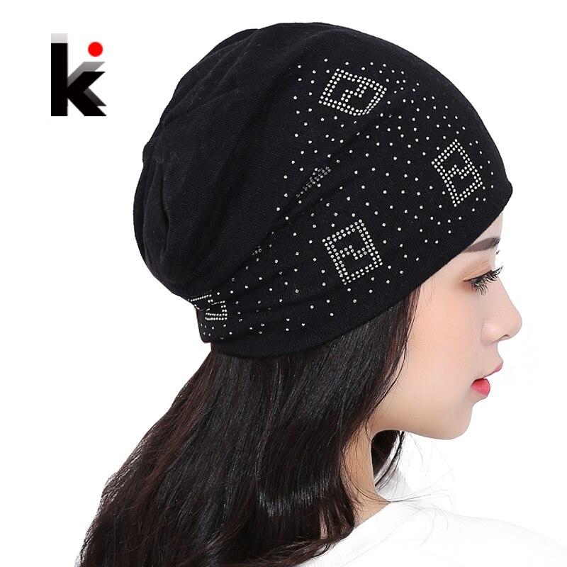 2018   Beanie   Hats For Women   Beanies   Autumn And Winter Brand Knitted Hat Turban Diamond   Skullies   Hip-hop Caps Stocking Ladies Lnit