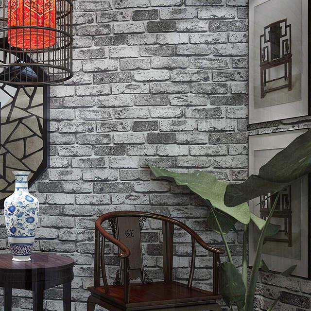 Placeholder Moderne Chinois Style Briques Papier Peint Rouleaux 3d Antique  Vintage Rouge Brique Gris Papier Peint Mur
