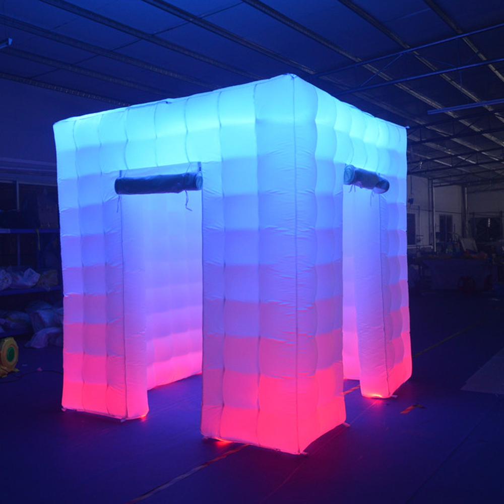 Portable Photo Booth Inflatable Led Cube Tent Enclosure With 17 Colors Changing Strip Lights For