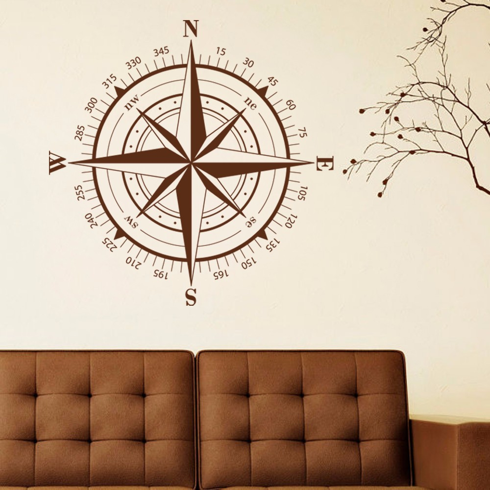 Compass wall decal compass rose nautical decal beach theme wall compass wall decal compass rose nautical decal beach theme wall decal travel decor 127cm x127cm in wall stickers from home garden on aliexpress amipublicfo Gallery