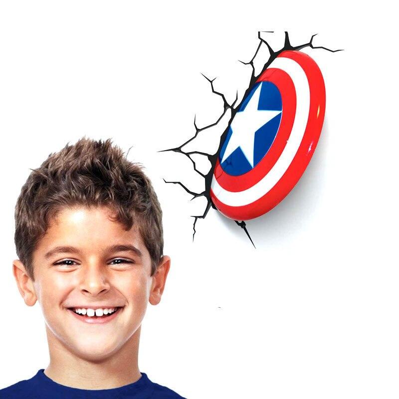 3D déco lumière Marvel Avengers Captain America Shield 3D applique murale lit led décor lampe pour enfants et décoration de la maison