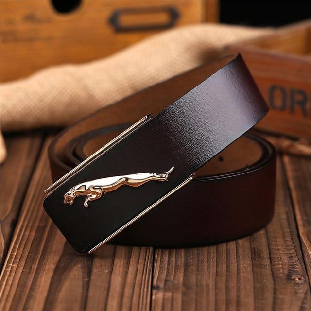 Top Layer Famous Brand Designer High Quality Genuine Leather Jaguar Mens Belts Luxury Male Cowskin Belt Women Waist Strap