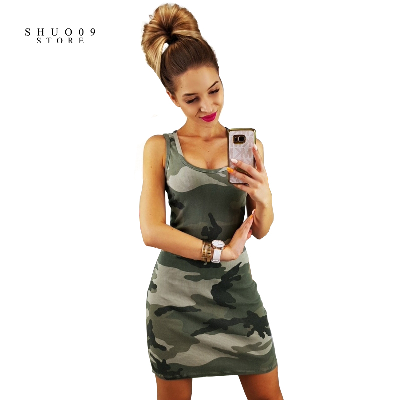 2018 New Fashion Sexy Camo Print Slim Sleeveless Dress Army Green Camouflage Womens Tank Dress Vestidos