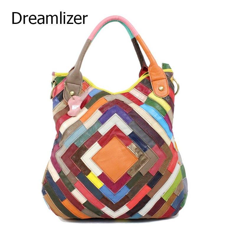 ФОТО Dreamlizer Rainbow Color Striped Women Handbag Elegant Women Genuine Leather Messenger Bags Brand Female Crossboday Bag Lady