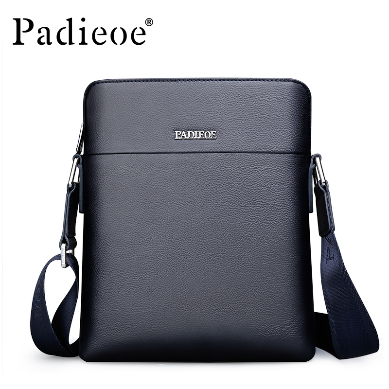 где купить Padieoe Hot Sale Men's Genuine Leather Shoulder Bag Fashion male Small Crossbody Bag High Quality Durable Messenger Bag Handbag дешево