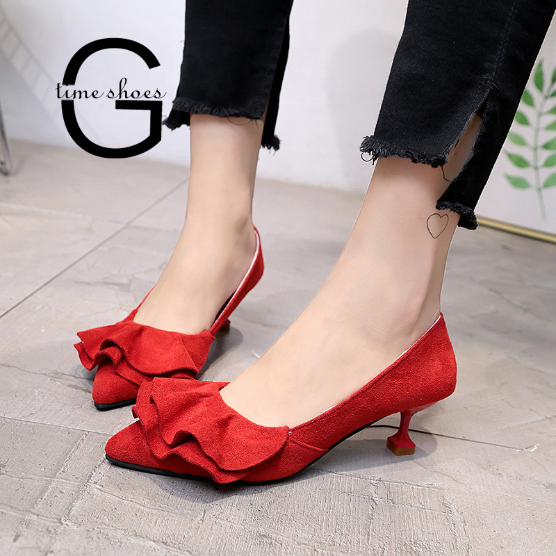 Gtime High Heel Sweet Ruffle Pumps Women Kitten Heel Slip On Pumps Thin Heels Shallow Pointed Toe Shoes Ladies Casual Shoe SE044 basic pump