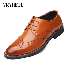 VRYHEID 2019 New High Quality Leather Shoes Men Brogues Lace-Up Bullock Business Dress Oxfords Male Formal