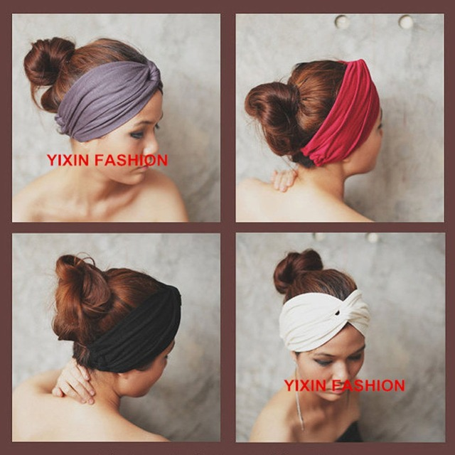 Turban Polyester Twist Knot Headband Boho Headbands Hippie Hairband Workout  Headwrap Mix Colors 20 Colors For Select 33ff6e01194