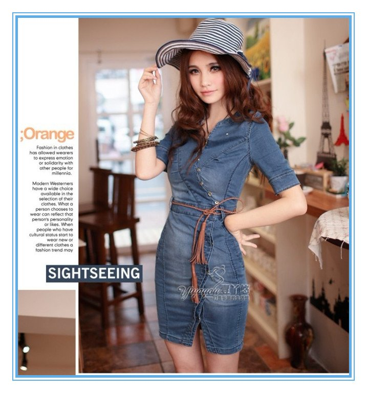 Free shipping New women fashion Slim dress, retro denim skirt ...