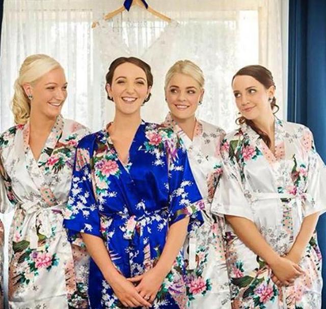 Rb007 Satin Robe Bathrobes Women Bridesmaid Robes Kimono Silk Wedding Nightgown Pajamas Pijama Nightdress