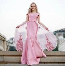 Sexy Plus Size Arabic Muslim Pink Mermaid Evening Prom Dresses Gown 2019 Elegant Women Gala Party Long Dress