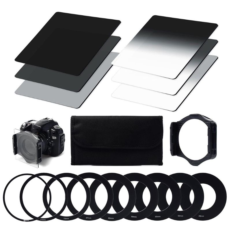 ND Filter Set ND2 ND4 ND8 G ND2 G ND4 G ND8 Ring Adapter 49mm 52mm 55mm 58mm 62mm 67mm 72mm 77mm 82mm Filter Holder Filter Case in Camera Filters from Consumer Electronics