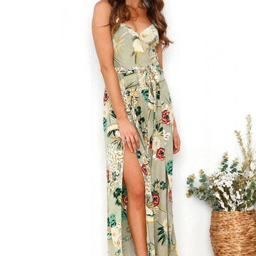 Fashion Wide Leg Trousers Women Summer Elegant Jumpsuits Ladies Sexy Sleeveless Floral Printed Playsuit Rompers Beach Style #JO