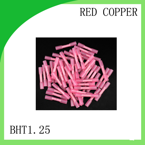 red copper 500 PCS BHT-1.25 cold-pressure terminal   Insulated Heat Shrink Butt Wire Electrical Crimp Terminal Connector diy insulated female wire connecting terminal red 20 pcs