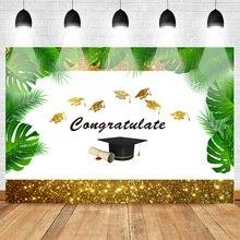 Neoback Congratulate Graduation Theme Backdrop for Photography Photo Background Bachelor Cap Golden Border Shiny