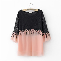 Plus Size Cutout Embroidered Women Tops Long Sleeve 2018 Summer T Shirt Loose Basic Tshirt Lace