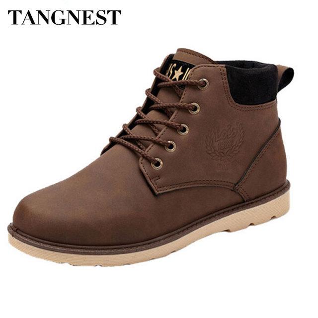 Tangnest Hombres Botas 2017 Otoño Nuevo Cuero de LA PU Impermeable de Los Hombres de Martin Botas de Estilo Británico Botines Zapatos Casuales Hombre XMX407