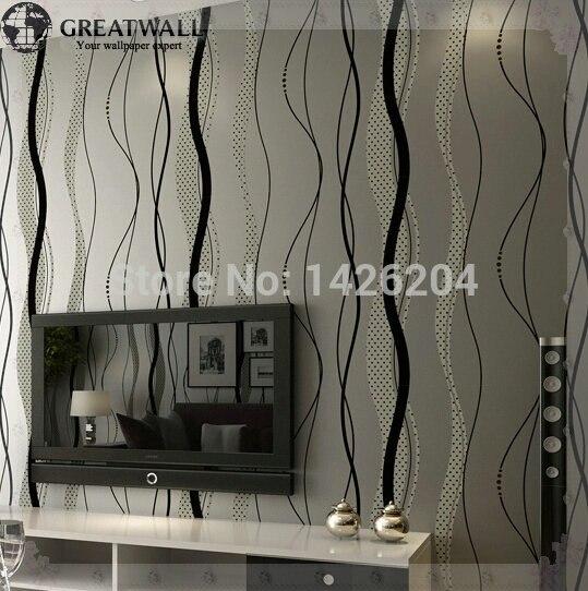 Tembok besar Non woven modern minimalis kurva bergelombang bergaris on wallpaper murah, wallpaper untuk resto dining interior, wallpaper korea seoraksan,