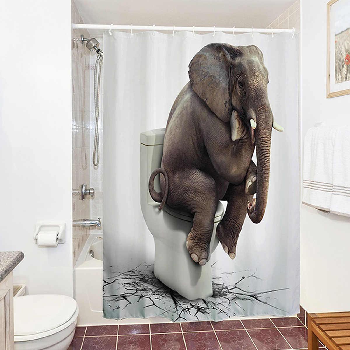 دش الستائر 180x180 سنتيمتر الفيل للماء البوليستر ستارة الحمام مع 12 السنانير حمام الديكور + طقم مشايات حمام يمتص الماء مضاد للبكتريا