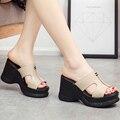 Plataforma sandalias de tacón alto zapatos de las cuñas mujeres zapatillas sy-2016