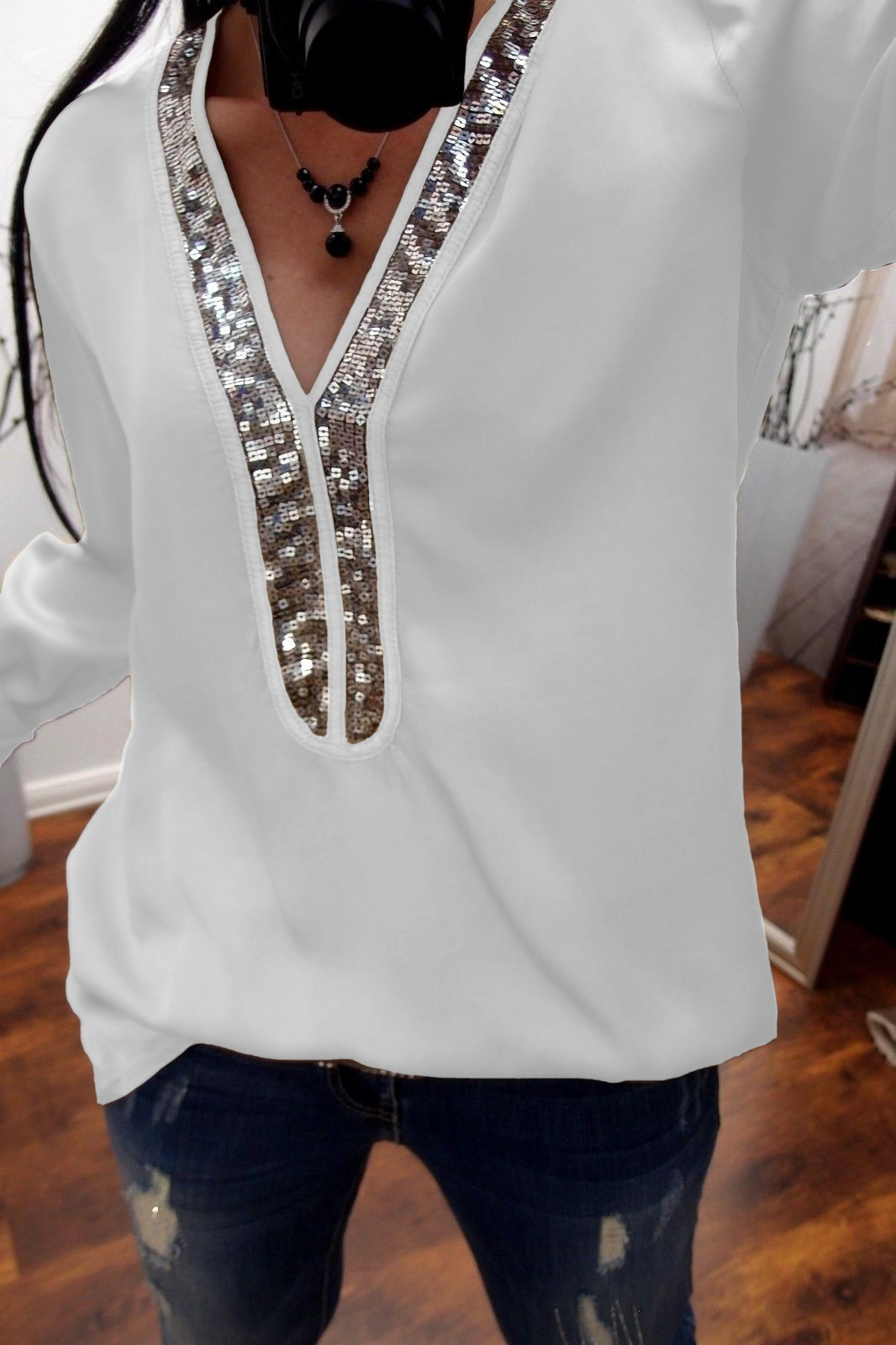 Sequins Shirt Women 2018 Autumn Long Sleeve V-neck Plus Size Casual Blouse Women Shirts Tops Patchwork Streetwear S-5XL WS9722M 2