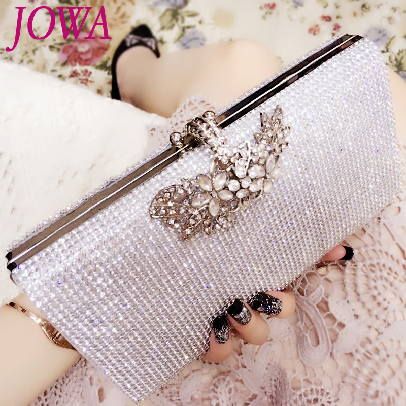 2017 New Design Socialite Evening Bags Women Fashion Handbag Shiny Diamonds Flower Hasp Pocket Wedding Party Bride Silver Clutch