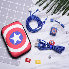 1.5M Cute Cartoon USB Cable Earphone Protector Set With Cable Winder Stickers Spiral Cord Protector For iphone 5 6 6s 7 8plus cartoon usb cable earphone protector set with earphone box cable winder stickers spiral cord protector for iphone 5s 6 6s 7