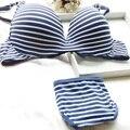 Sexy mulheres menina listrado Push Up roupa interior acolchoado 2 pcs Set Underwire sutiã lingerie quente