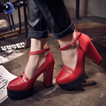 2016 new spring womens casual high heels shoes sexy thick heels platform / europe womens shoes,female pumps Dropshipping