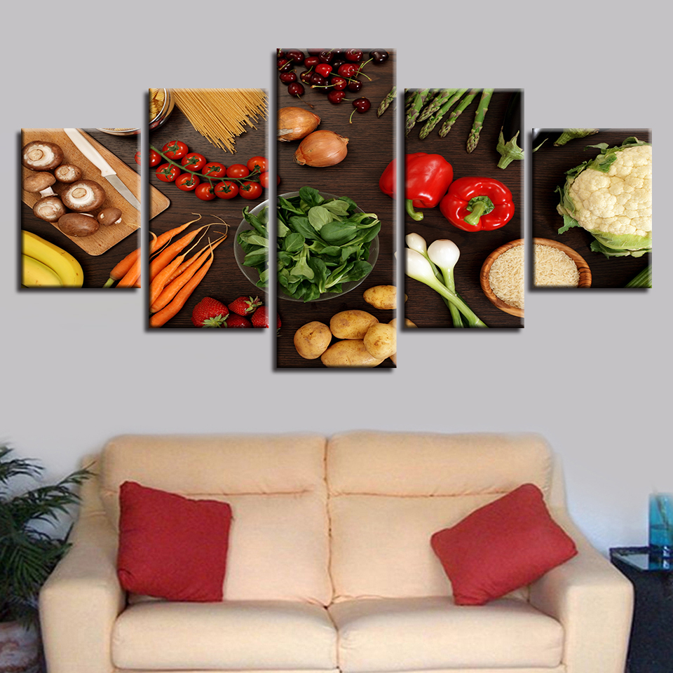 Kitchen Decor Wall Art Frame 5 Pieces Vegetable Mushroom Chili Potato Carrot Food Paintings HD Printing Modular Canvas Pictures