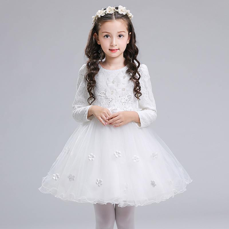 New Kids Girls Christmas Lace Embroidery Flower Dress Children Applique Party Vestido Teenage Girls Bowknot Princess Costume Q75