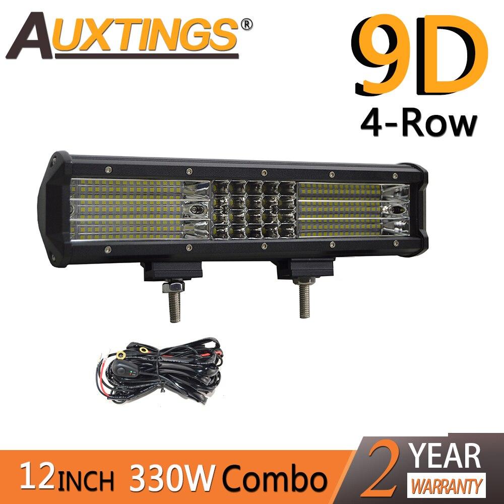 Auxtings 12inch 330w 12'' quad rows movable bracket Led work light high power 9D LED light bar offroad 4x4 car light 12V 24V
