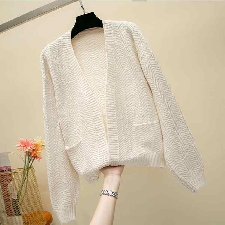 2019 Повседневный вязаный свитер для девочек, Осенний корейский женский тонкий однотонный дизайнерский кардиган с карманами, цвета хаки, белый, синий, коричневый