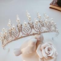 2018 New Zirconia Pearl Crown Princess Headband Crystal Rhinestone Tiara Crowns Hair Band Jewelry Silver Bridal Hair Accessories