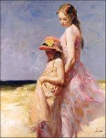 Piękna Pani i Dzieciak W Lecie Daeni Pino Obraz Drukowany Wall Art Reprodukcji Obraz Olejny Wysokiej Jakości