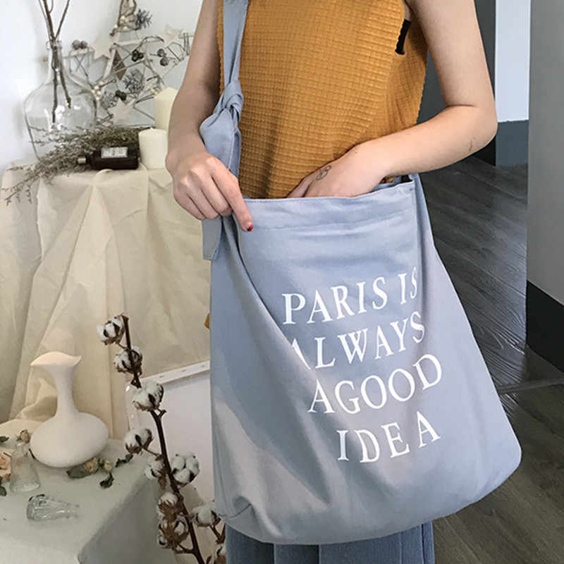 College Serbaguna Canvas Single Tas Bahu Leisure Lingkungan Tangan Belanja Tas Kasual Warna Solid Tas Penggunaan