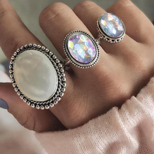 Boho Women Rings 3pcs/Lot Anillos Alloy Gem Ring Mujer Bague Femme Gothic Big Finger Jewellery Accesorios Vintage Bohemian Joyas