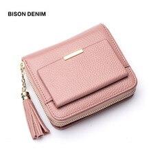 BISON DENIM 100% кожа Для женщин кошелек на молнии монета карман кошелек держатель для карт женский деньги сумки небольшой carteira feminina N3276