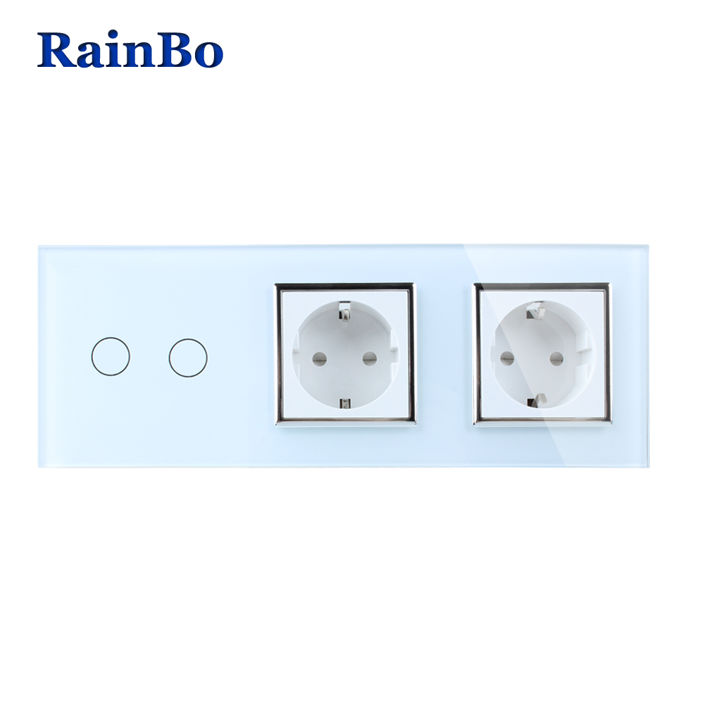 RainBo Brand Crystal Glass Panel Electronic Wall Socket EU Touch Switch Control Screen  Light Switch 2gang1way  A39218E8ECW/B smart home touch control wall light switch crystal glass panel switches 220v led switch 1gang 1way eu lamp touch switch