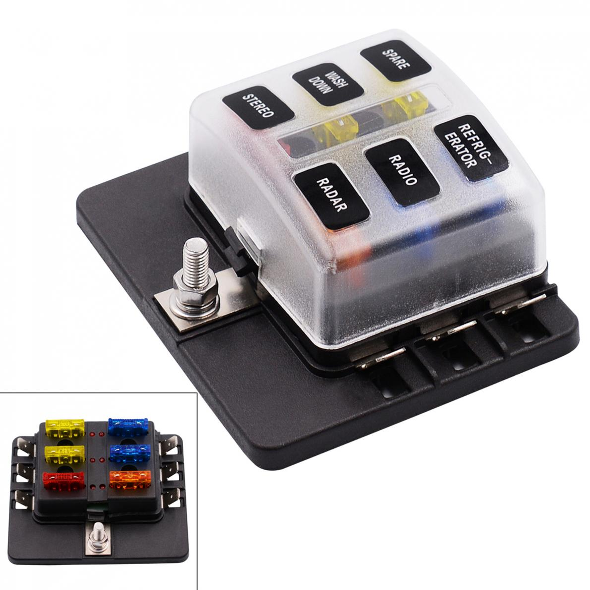 6 way 12v 24v blade fuse box holder with led warning light kit for car boat marine trike [ 1190 x 1190 Pixel ]