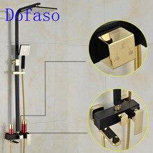 Dofaso negro vintage ducha blanco y grifo de ducha de baño Caño por latón lluvia densa baño ducha mezclador grifos
