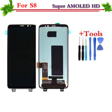 Untuk Samsung Galaxy S8 G950 G950F AMOLED LCD Layar Sentuh Digitizer Tampilan Perakitan Pengganti untuk Samsung S8 G950