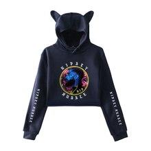 R.I.P Nipsey Hussle Crop Top Cat Ear Hooded Women Hoodie Sweatshirt Harajuku Winter Women Hoodies Exposed Pullovers Hoody 4XL