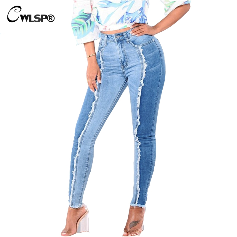 CWLSP S-4XL Plus size Jeans FemaleTassel Pencil Patchwork Jeans for Lady Mid Waist Pants Skinnty denim overall for women QL3591