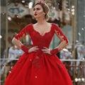 Princesa vermelho vestido de Baile Vestido de Noiva 2017 Manga Longa Ilusão Sem Costas vestido de noiva Personalizar Muçulmano Vestidos de Noiva de Tule