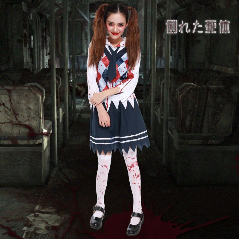 halloween costumes accessories necktie zombie student scary costume halloween for women spice clothes zombie student with bloodin movie u0026 tv costumes from